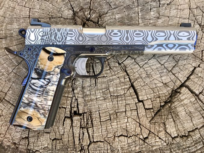 Oak-leaf Engraved with Damasteel Long Slide .45 ACP LR0005 – SOLD