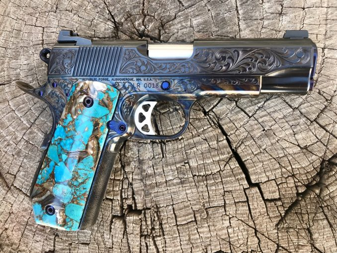 Traditional RF Scroll Engraved with Turquoise Grips 9mm LR0018 – SOLD